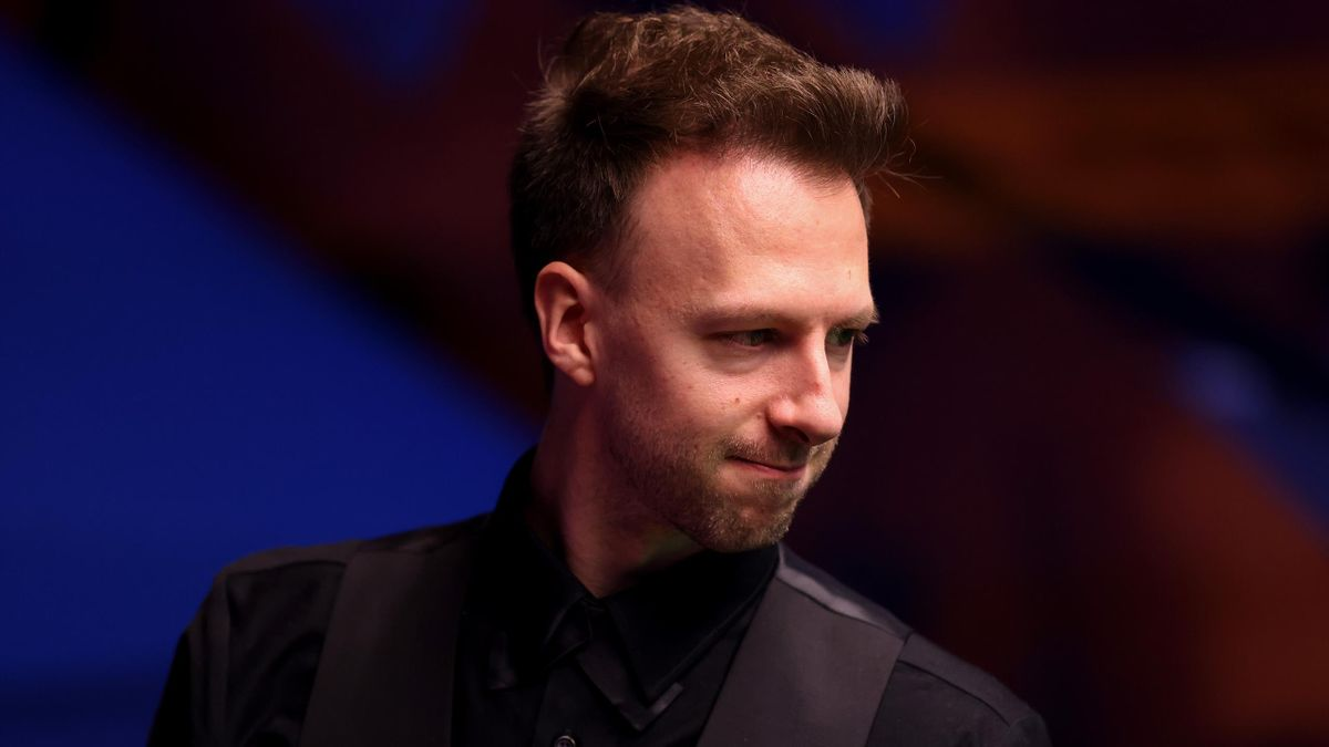 Judd Trump of England reacts during the Betfred World Snooker Championship Round Two match between David Gilbert of England and Judd Trump of England at Crucible Theatre on April 25, 2021 in Sheffield, England.