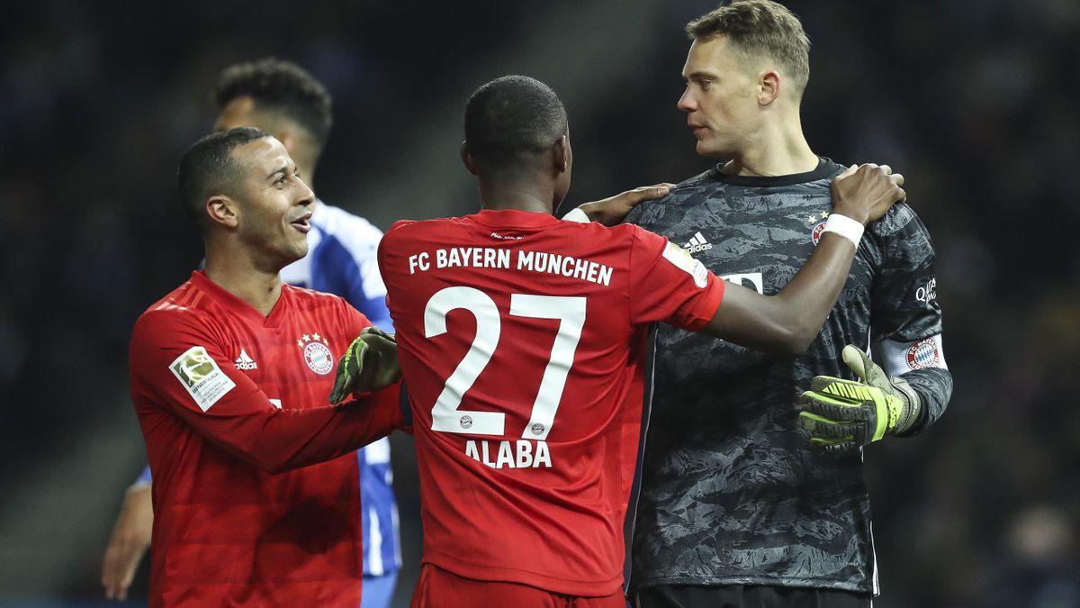 Von links: Thiago, David Alaba und Manuel Neuer