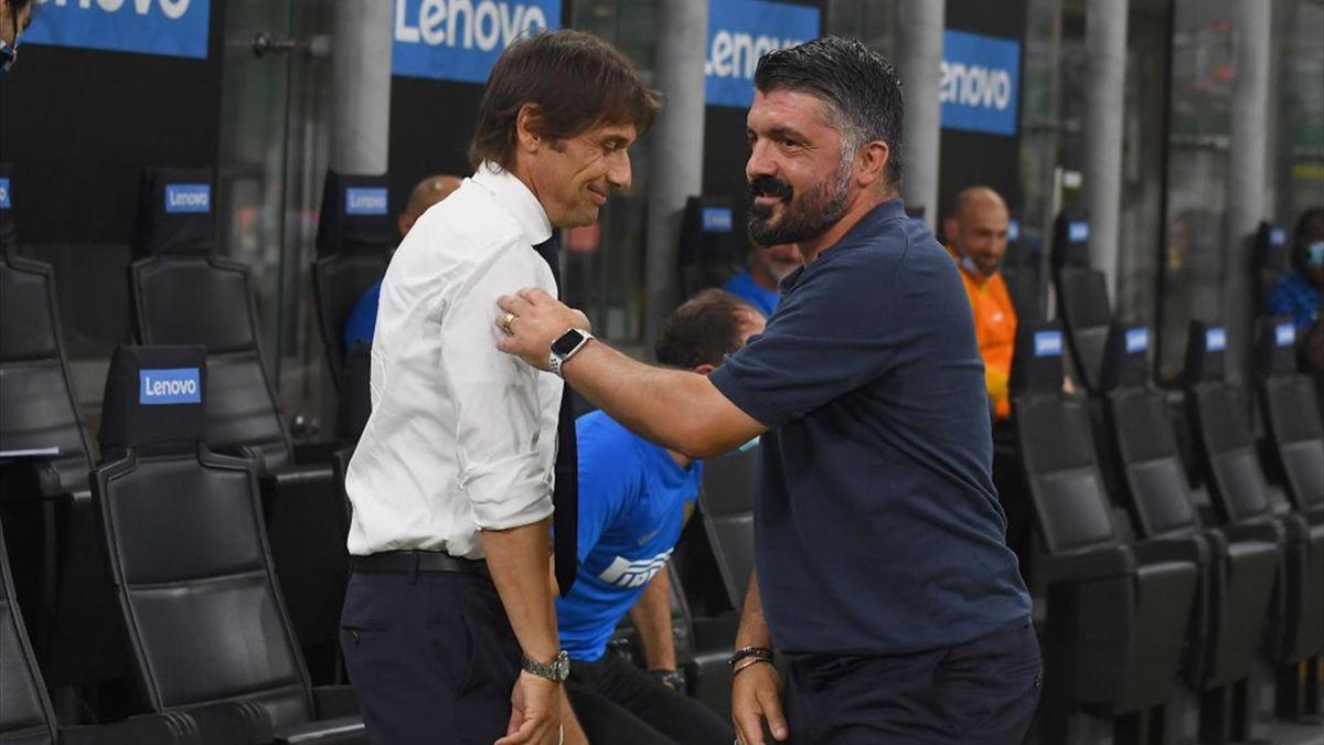 Antonio Conte e Gennaro Gattuso - Inter-Napoli Serie A 2020-21
