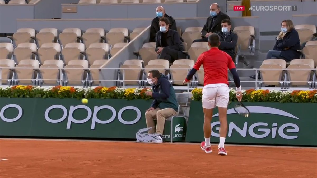 Novak Djokovic accidentally hits a line judge at the French Open