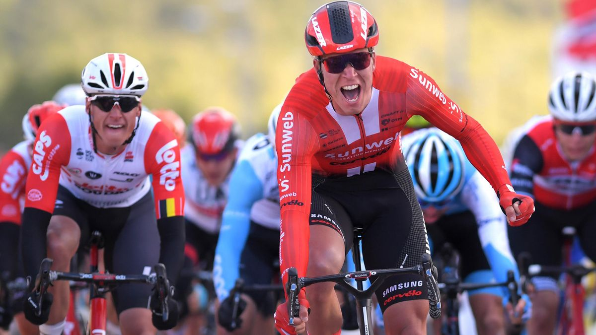 Lawrence Naesen of Belgium and Team Lotto Soudal / Cees Bol of The Netherlands and Team Sunweb Celebration / Eduard Michael Grosu of Romania and Team Delko Marseille Provence / during the 9th Tour of Norway 2019, Stage 1 a 168,2km stage from Stavanger to
