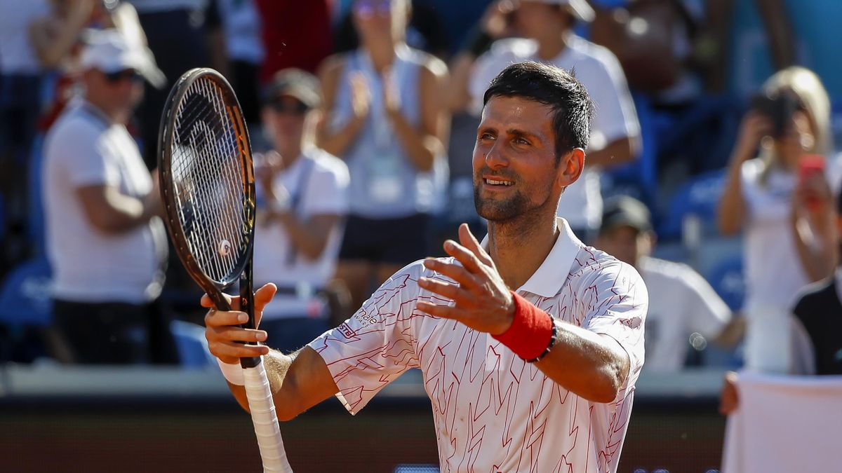 Novak Djokovic of Serbia celebrates after the match against Alexander Zverev of Germany at the Adria Tour charity exhibition tournament hosted by Novak Djokovic on June 14, 2020 in Belgrade