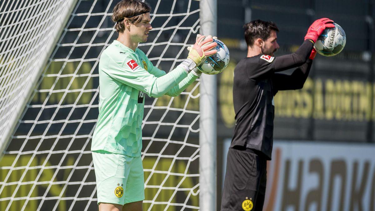 Marwin Hitz und Roman Bürki von Borussia Dortmund