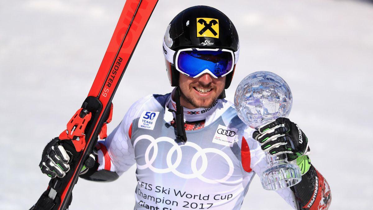Marcel Hirscher lors du géant des finales d'Aspen 2017