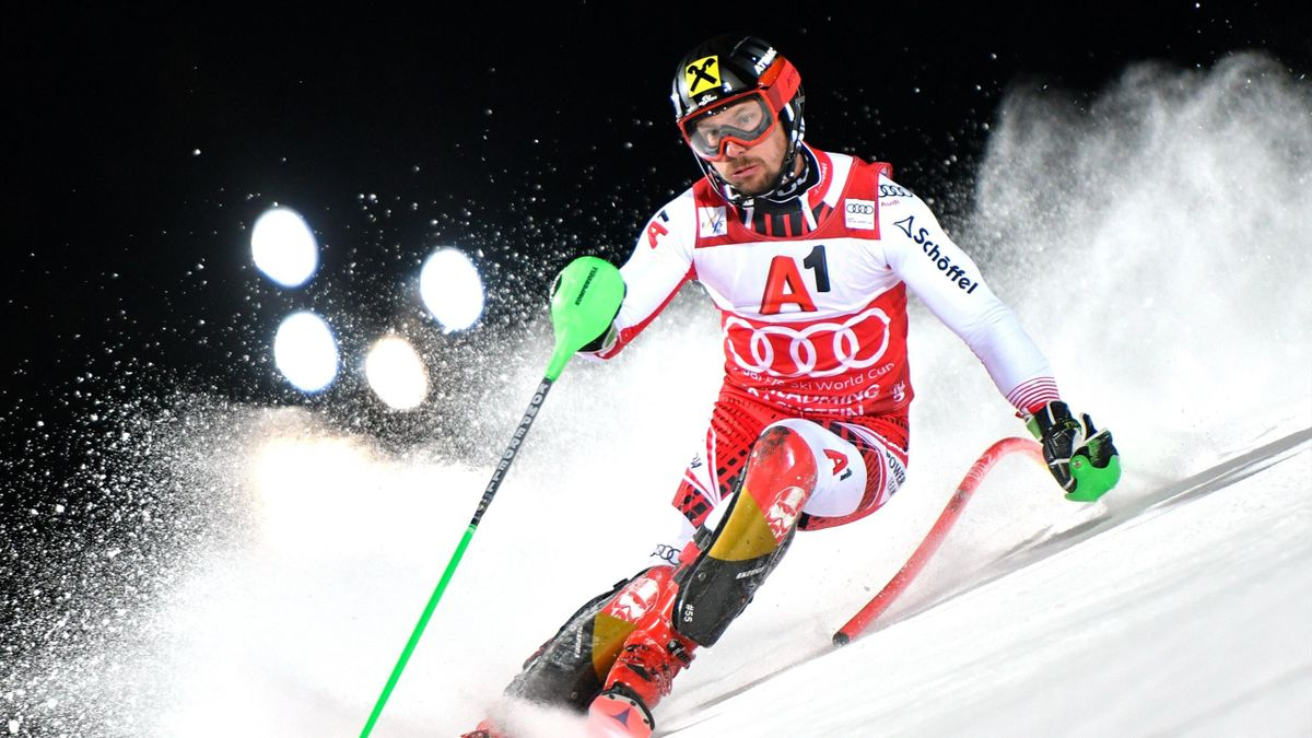 Austria's Marcel Hirscher competes in the men's Slalom event at the FIS Alpine Ski World Cup in Schladming, Austria, on January 29, 2019.