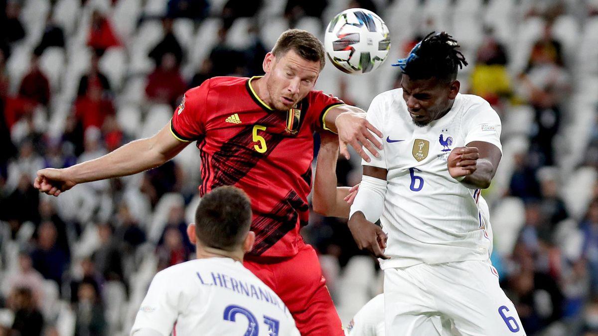 Jan Vertonghen beats Paul Pogba of France to a header, Belgium v France, Nations League semi-final, Juventus Stadium, Turin, Italy, October 7, 2021