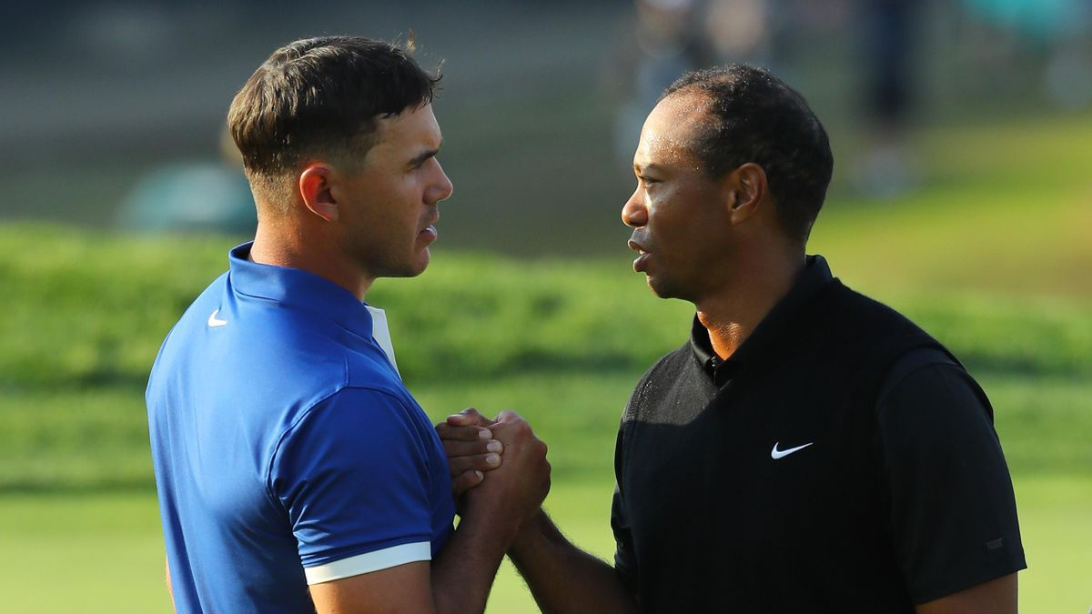 Brooks Koepka et Tiger Woods après le 2e tour du Championnat PGA 2019