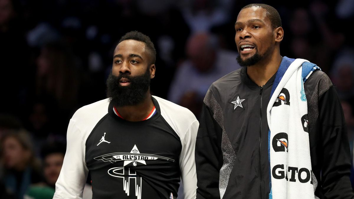 James Harden și Kevin Durant, la All Sar Game-ul NBA din 2019