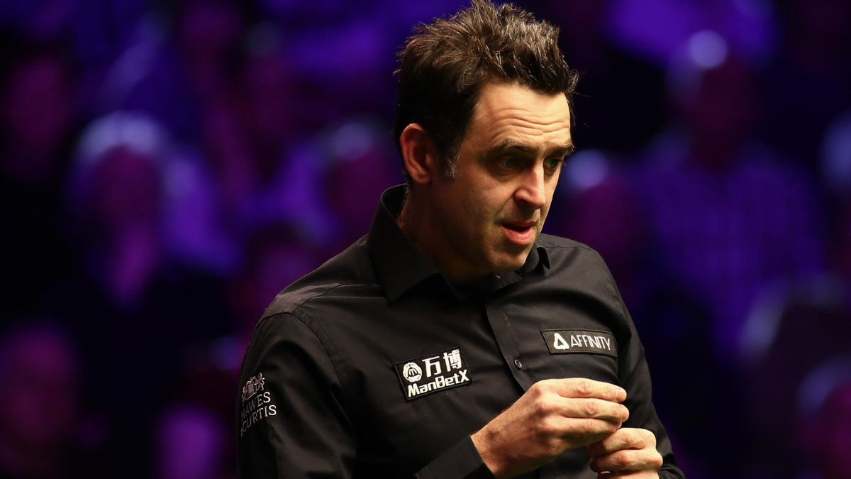 Ronnie O'Sullivan of England chalks the cue during the 2nd round match against Stuart Carrington of England on day three of the 2020 ManBetX Welsh Open at the Motorpoint Arena on February 12, 2020 in Cardiff, Wales