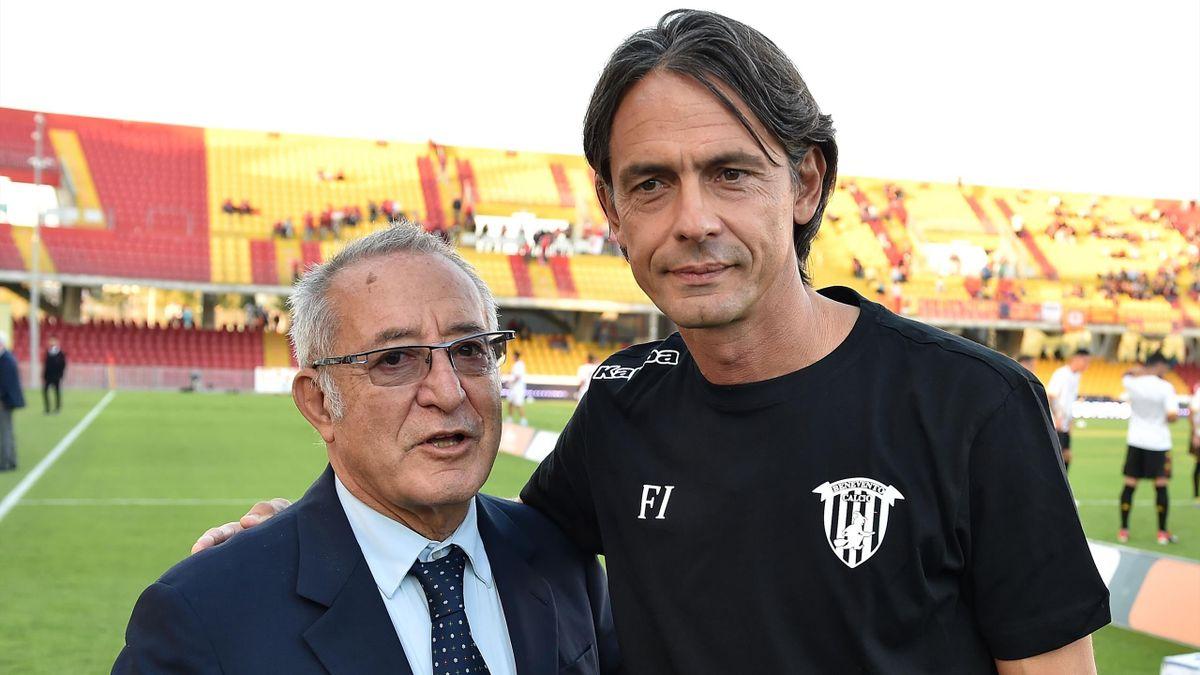 Oreste Vigorito, FIlippo Inzaghi - Benevento-Perugia - Serie B 2019/2020 - Getty Images