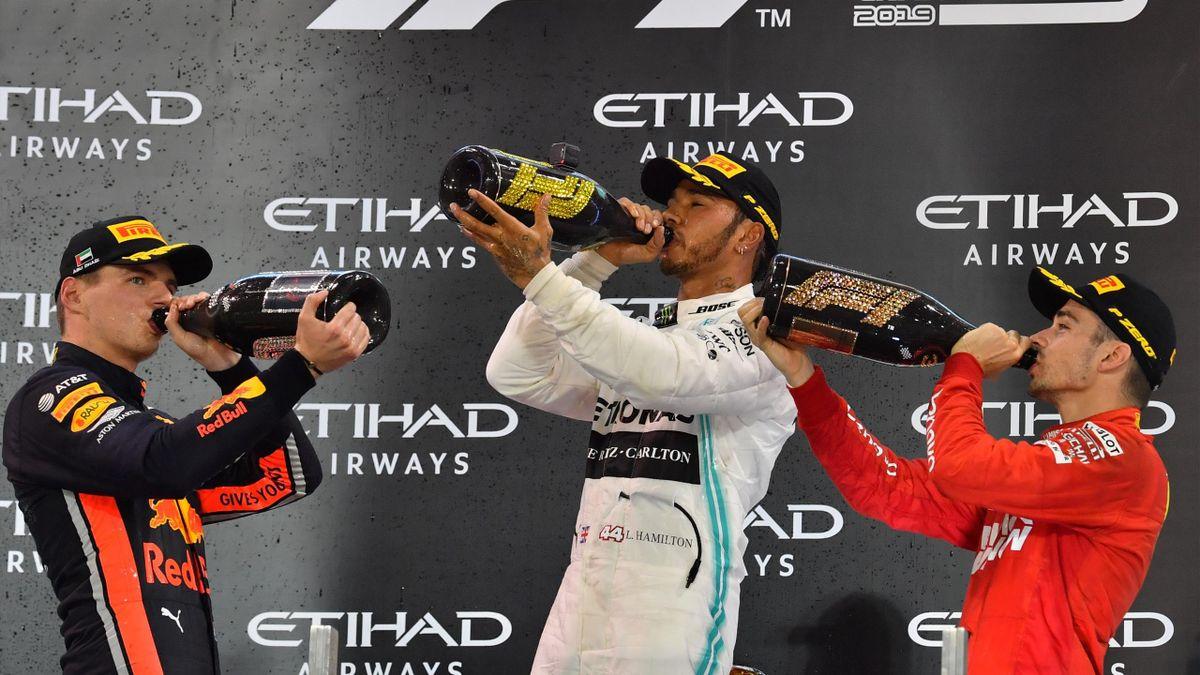 Lewis Hamilton (Mercedes) - Max Verstappen (Red Bull) - Charles Leclerc (Ferrari)