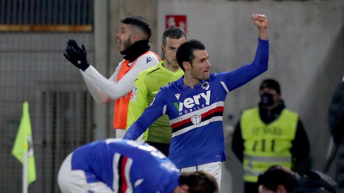 Antonio Candreva esulta in Spezia-Sampdoria