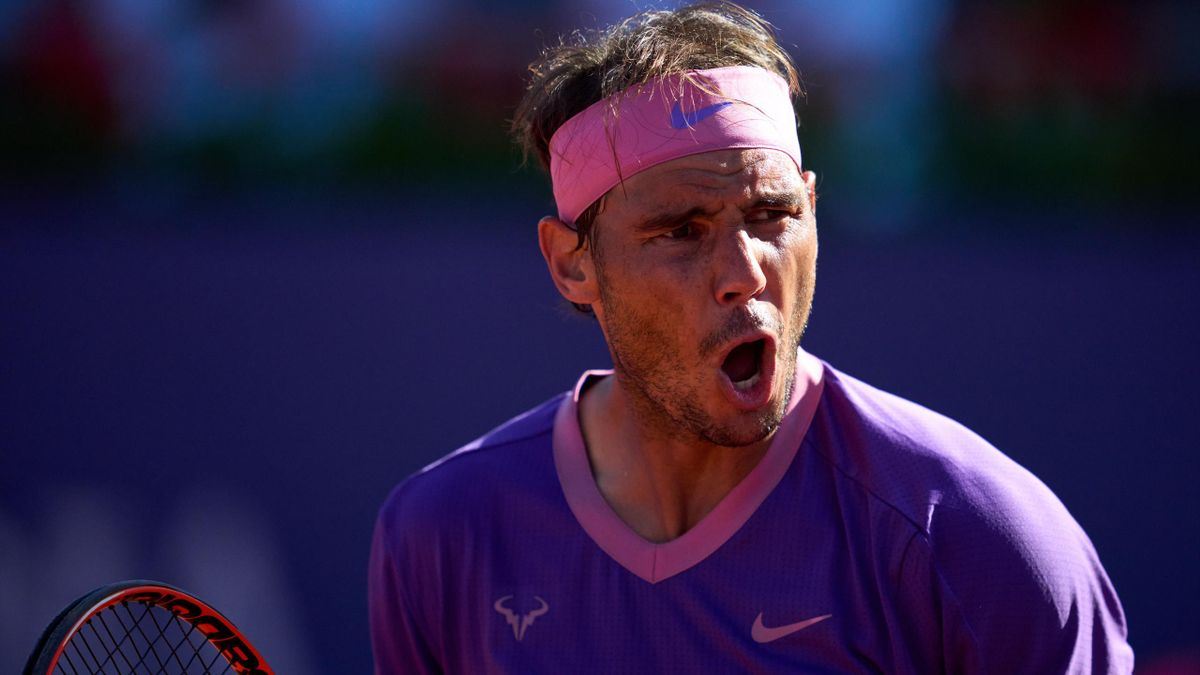 Rafael Nadal of Spain celebrates a point against Cameron Norrie