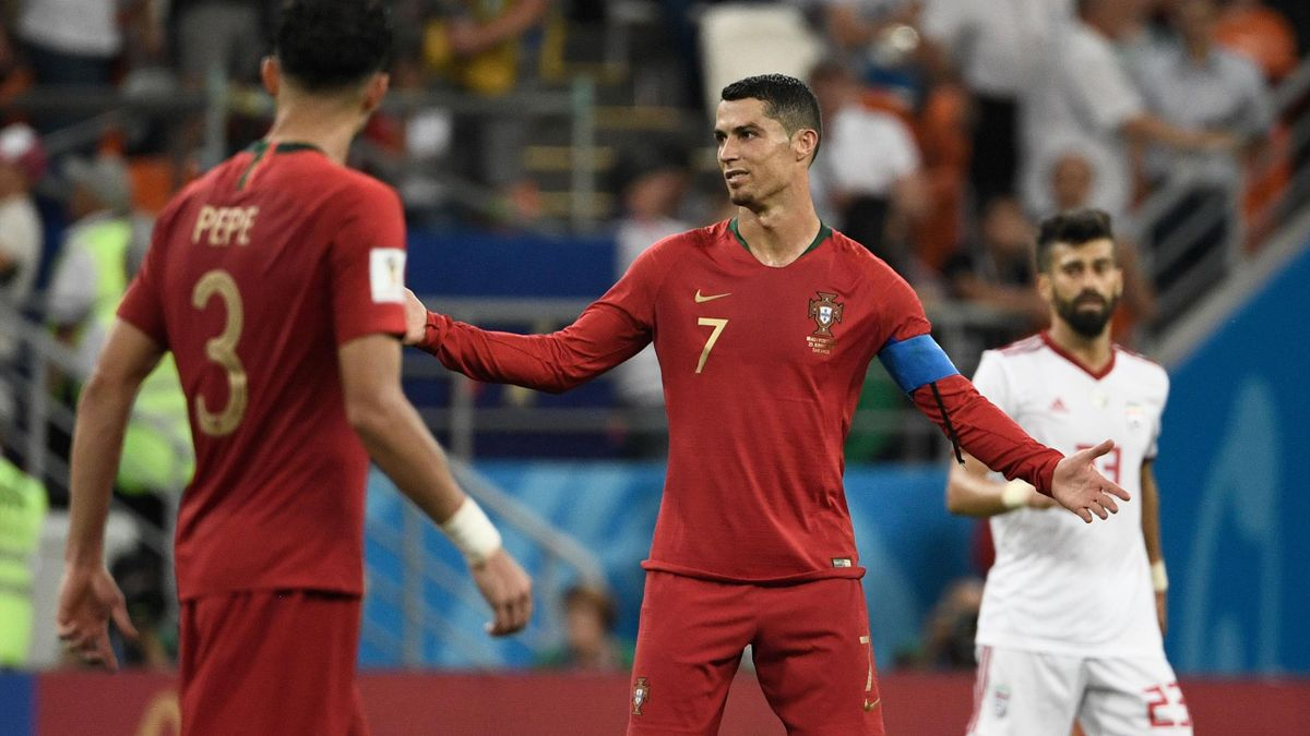 Cristiano Ronaldo reacts during the Russia 2018 World Cup Group B football match between Iran and Portugal at the Mordovia Arena in Saransk on June 25, 2018