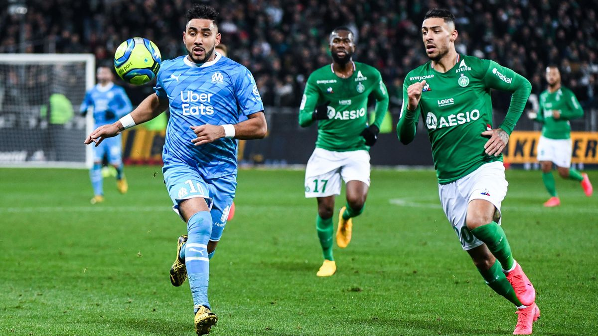 Dimitri Payet et Denis Bouanga lors de la rencontre opposant Saint-Etienne à Marseille, le 5 février 2020