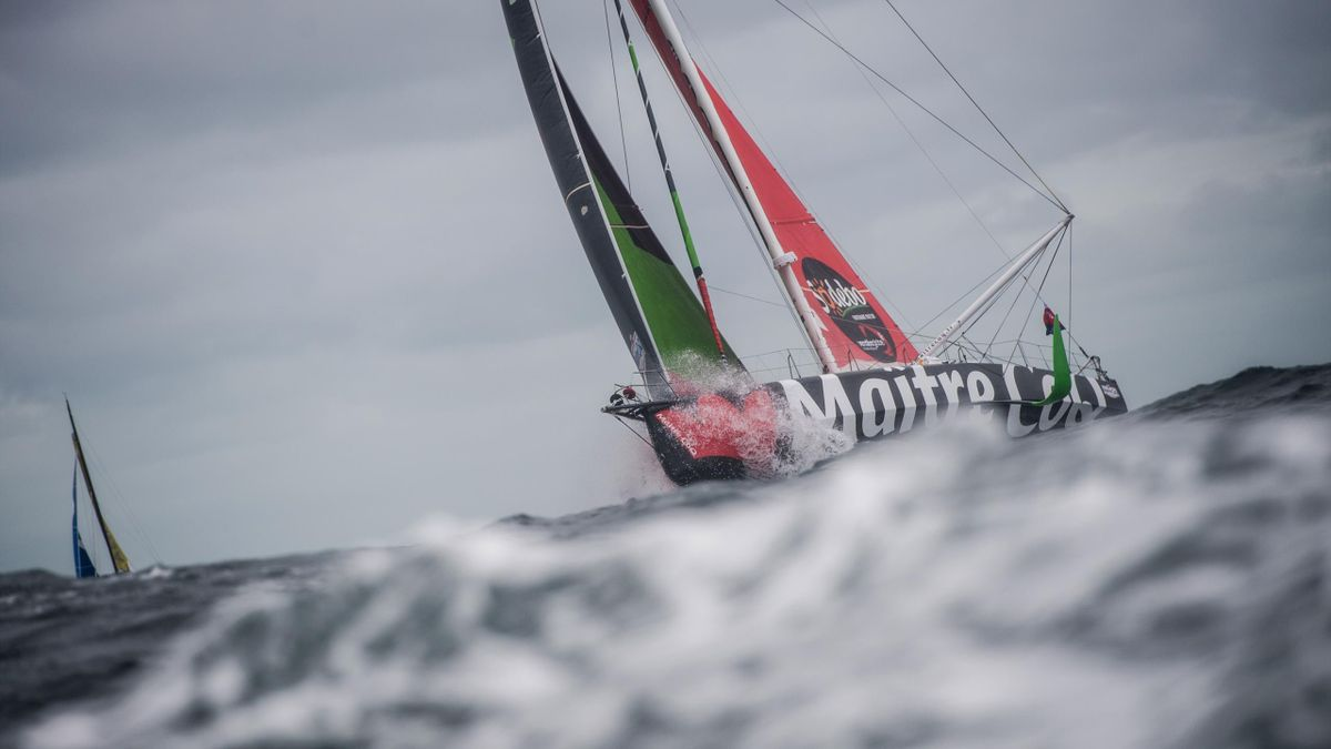 French skipper Yannick Bestaven sails his Imoca 60 monohull Maitre Coq