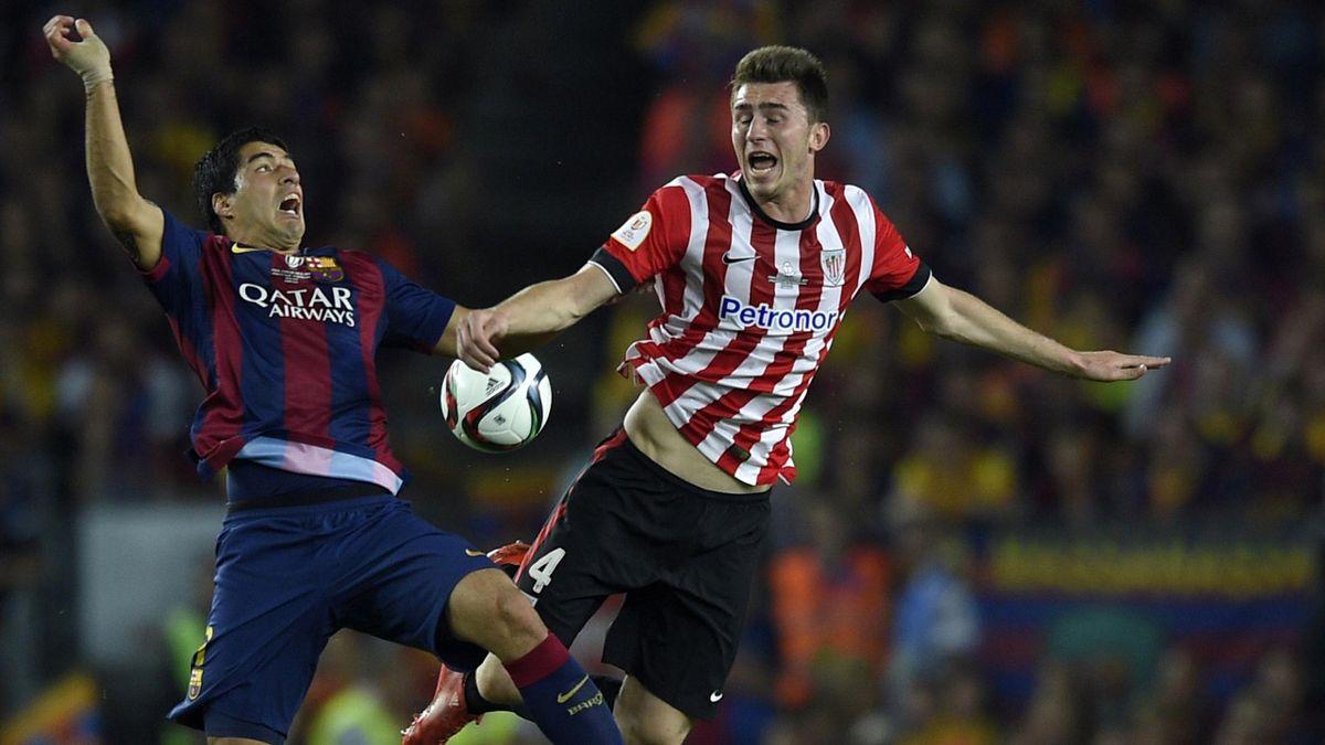 Aymeric Laporte (r., gegen Luis Suárez) von Athletic Bilbao