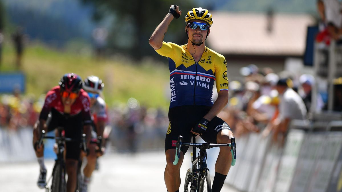 Primoz Roglic of Slovenia and Team Jumbo - Visma / Celebration / Egan Arley Bernal Gomez of Colombia and Team INEOS / Valerio Conti of Italy and UAE Team Emirates / during the 32nd Tour de L'Ain 2020, Stage 2 a 141km stage from Lagnieu to Lélex Monts-Jura