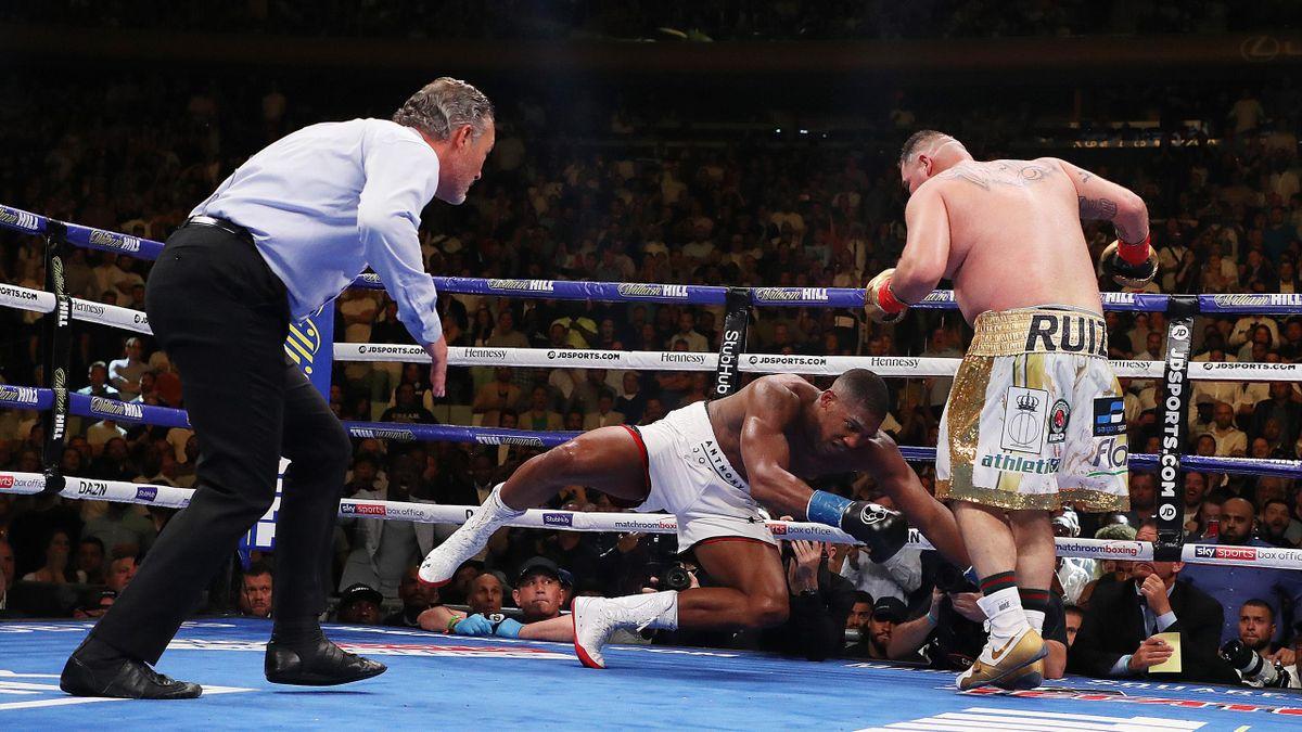 Andy Ruiz Jr knocks down Anthony Joshua