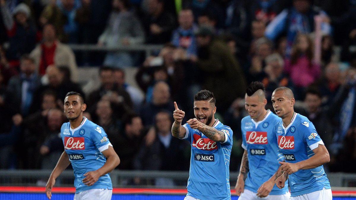 La joie des joueurs de Naples, vainqueurs de la Coupe d'Italie 2014