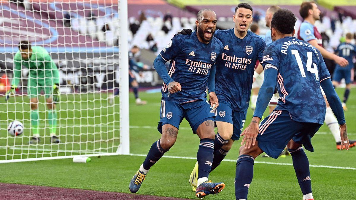 Alexandre Lacazette (FC Arsenal) bejubelt seinen Treffer gegen West Ham United
