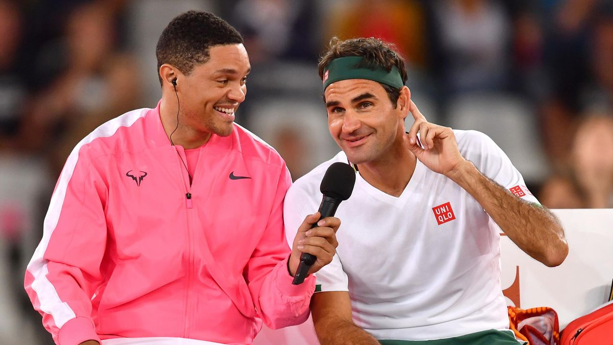 Trevor Noah and Rafael Nadal of Spain during the Match in Africa between Roger Federer and Rafael Nadal