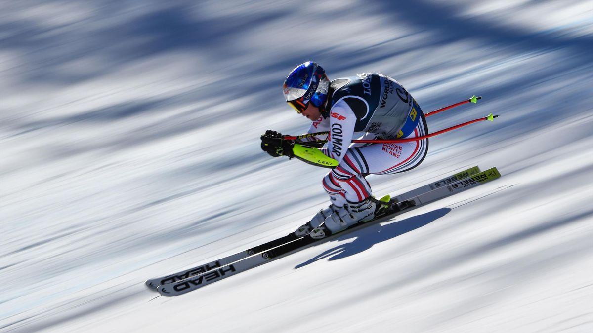 Alexis Pinturault lors du Super-G du combiné des Mondiaux de Cortina d'Ampezzo, le 15 février 2021