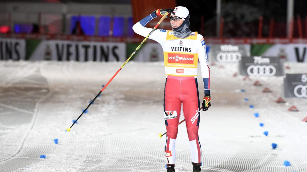 Jarl Magnus Riiber of Norway reacts after winning the Nordic Combined Individual Gundersen competition at the FIS World Cup Ruka Nordic event in Kuusamo, Finland, on November 30, 2019.