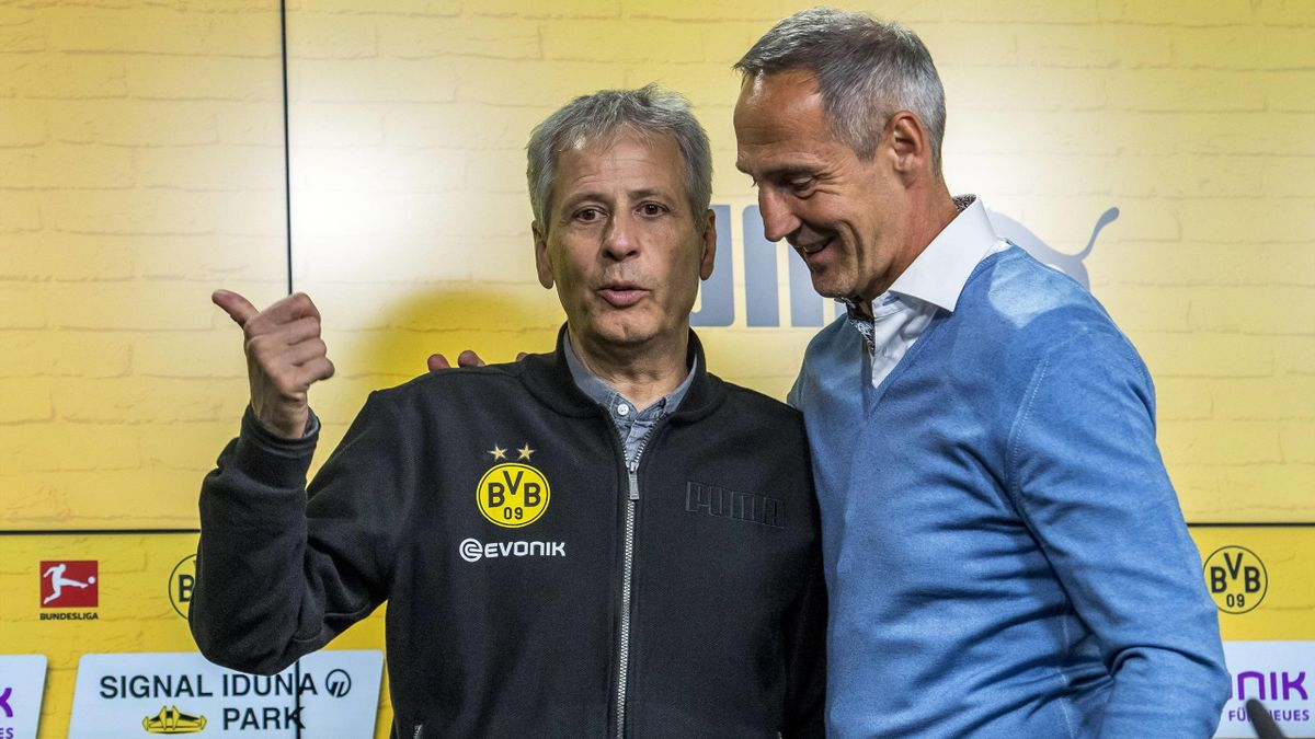 Trainer-Kollegen Lucien Favre (li.) und Adi Hütter (re.)
