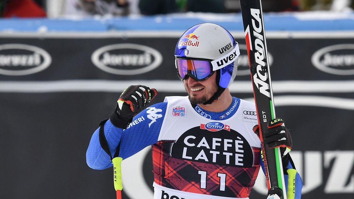 Dominik Paris le poing serré après sa descente à Bormio le 28 décembre 2017