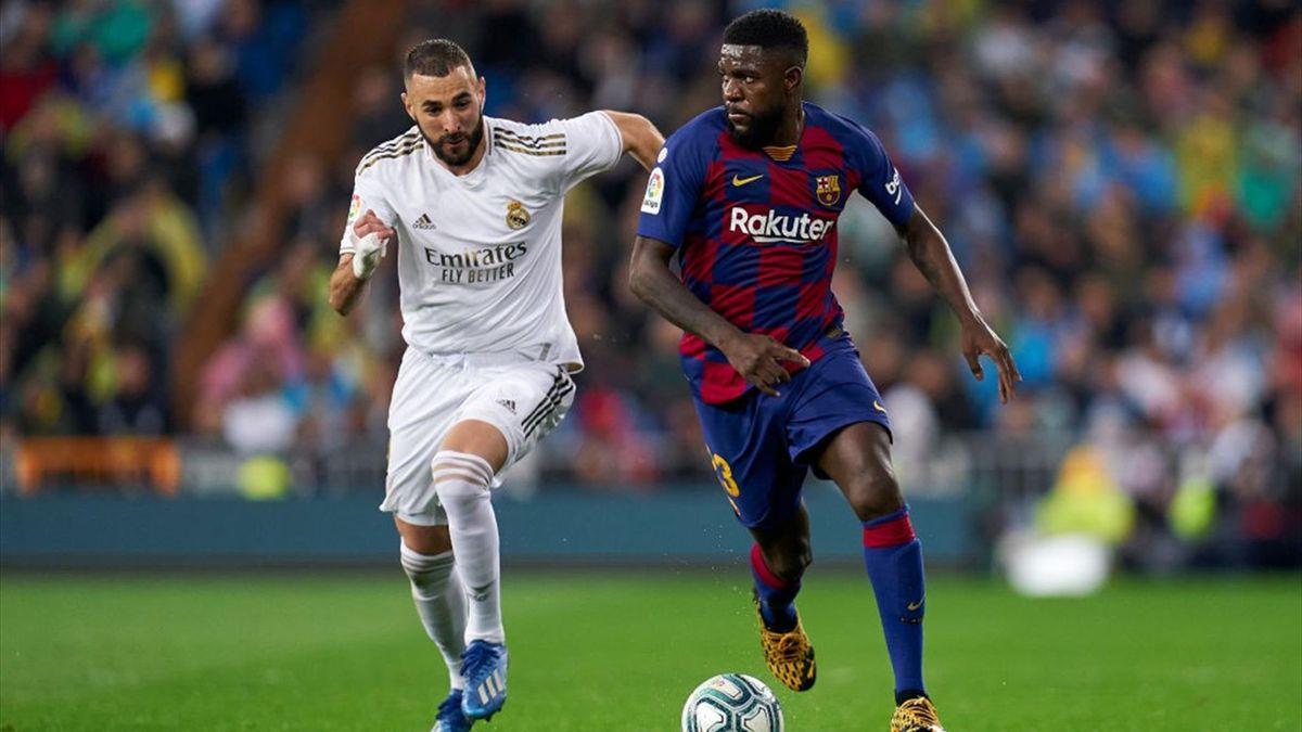 Samuel Umtiti e Karim Benzema - Real Madrid-Barcellona Liga 2019-20