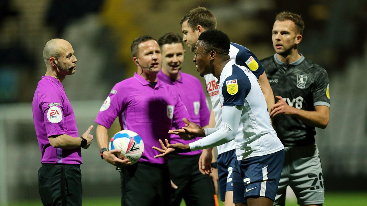 Preston North End's Darnell Fisher remonstrates with Referee David Webb at he final whistle during the Sky Bet Championship match between Preston North End and Sheffield Wednesday at Deepdale on November 21, 2020 in Preston, England.