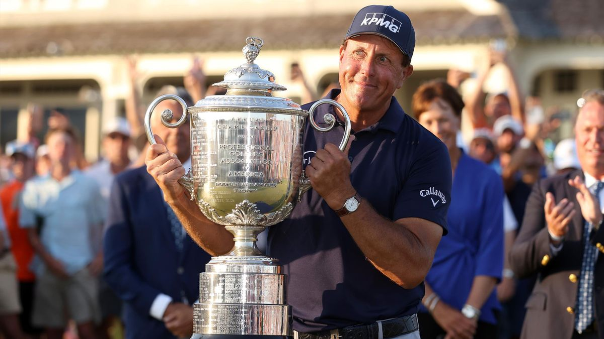 Phil Mickelson of the United States celebrates with the Wanamaker Trophy after winning during the final round of the 2021 PGA Championship held at the Ocean Course of Kiawah Island Golf Resort on 23 May, 2021 in Kiawah Island, South Carolina