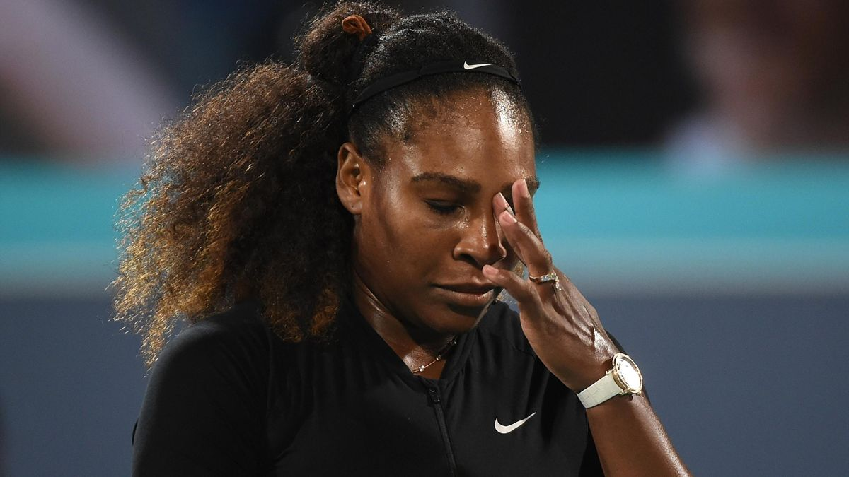 Serena Williams of United States looks dejected during her Ladies Final match against Jelena Ostapenko of Latvia on day three of the Mubadala World Tennis Championship at International Tennis Centre Zayed Sports City