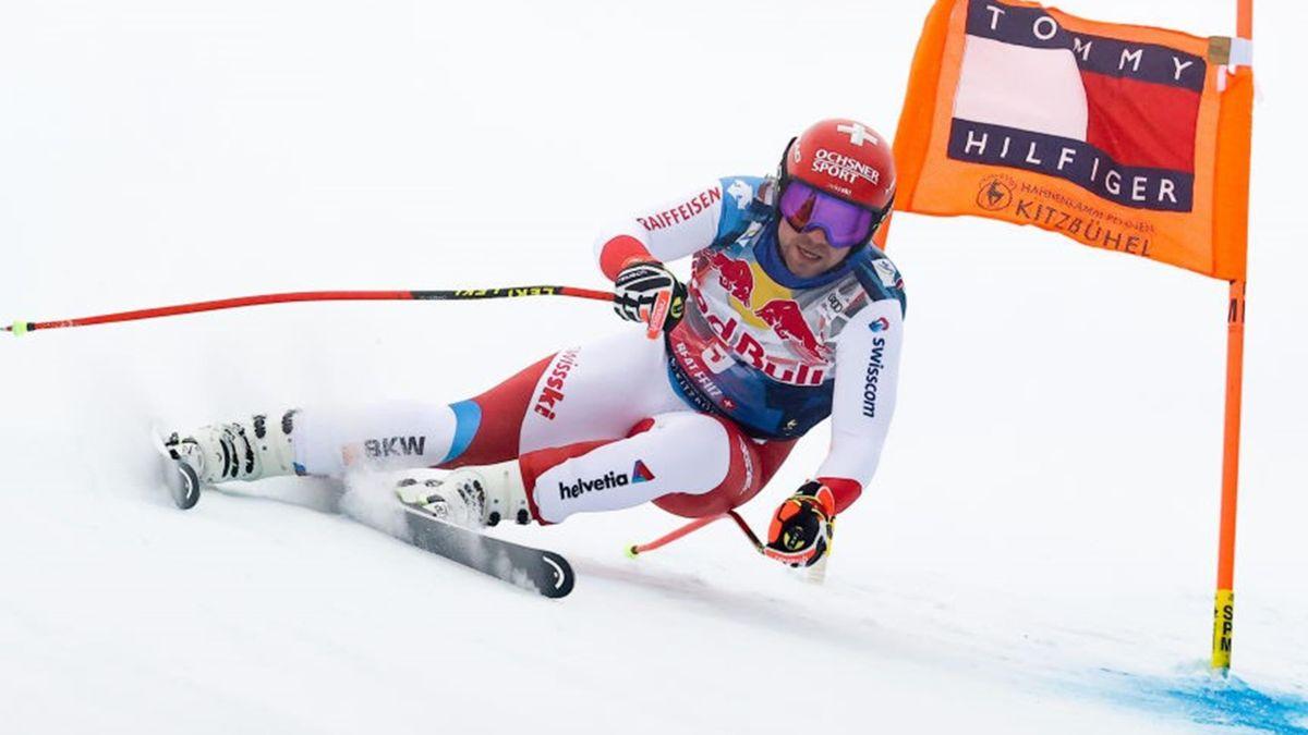 Beat Feuz lors de la descente à Kitzbühel le 24 janvier 2021