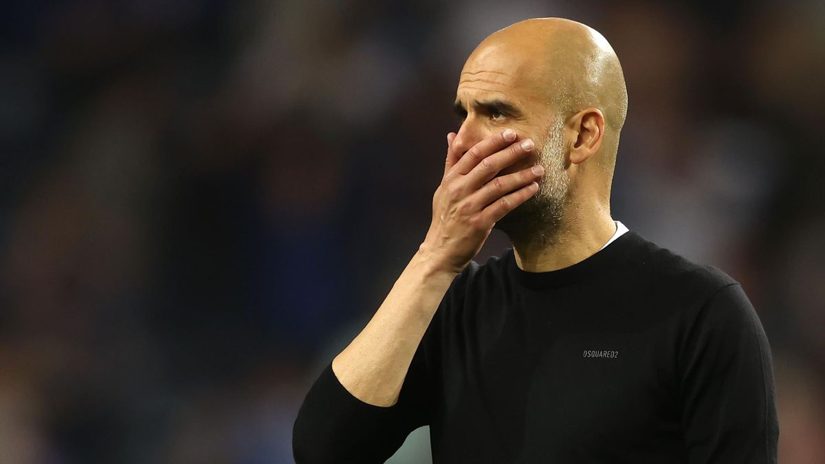 Guardiola, Manager of Manchester City looks dejected following defeat in the UEFA Champions League Final between Manchester City and Chelsea FC