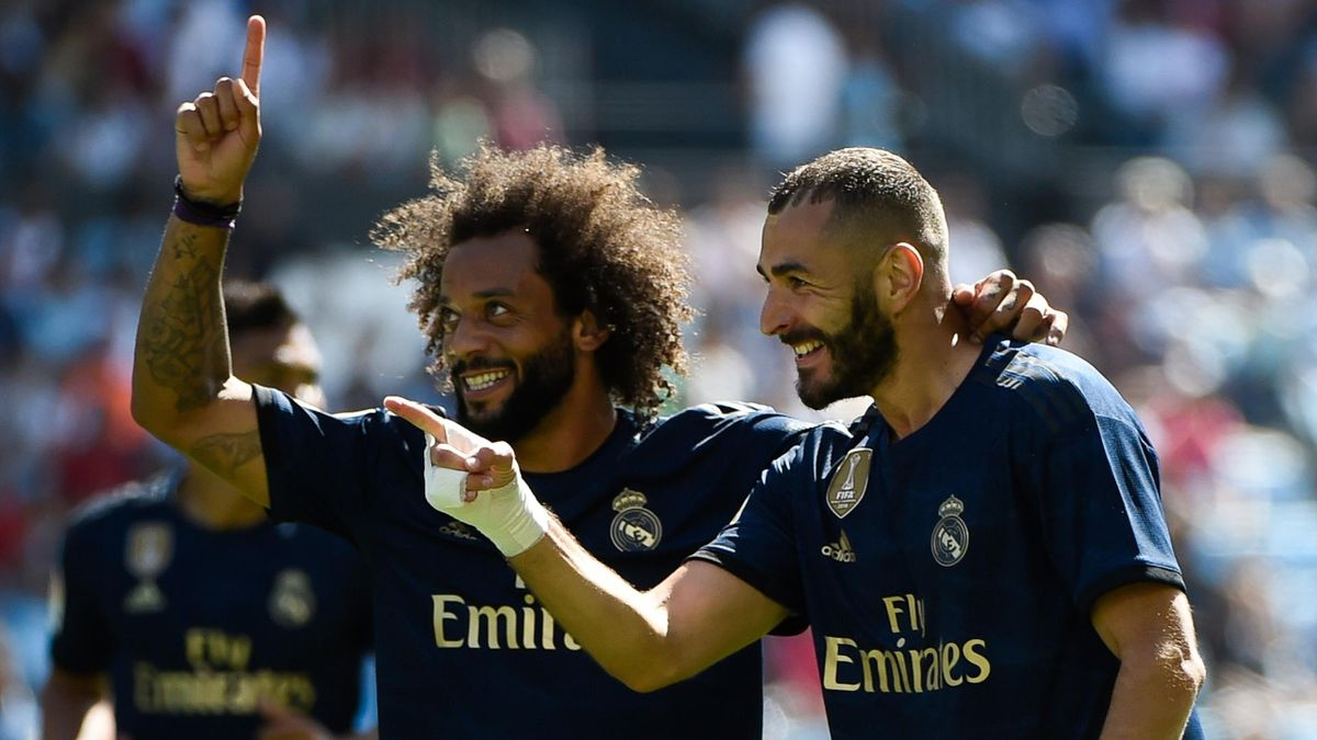 Marcelo și Karim Benzema (Real Madrid)