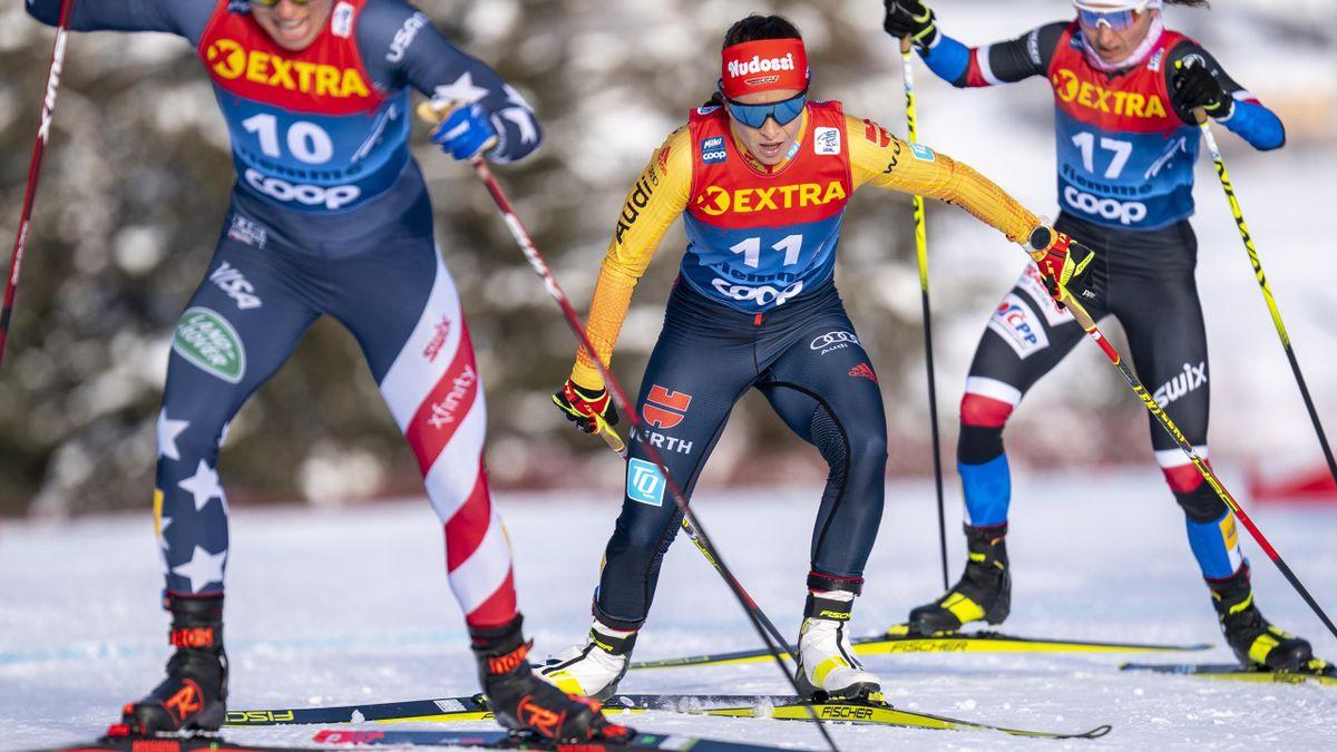 Katharina Hennig auf dem Weg zur Alpe Cermis