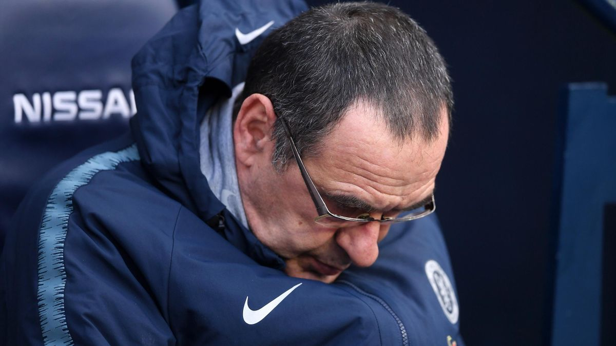 Maurizio Sarri, Manager of Chelsea looks on prior to the Premier League match between Manchester City and Chelsea FC at Etihad Stadium on February 10, 2019 in Manchester, United Kingdom