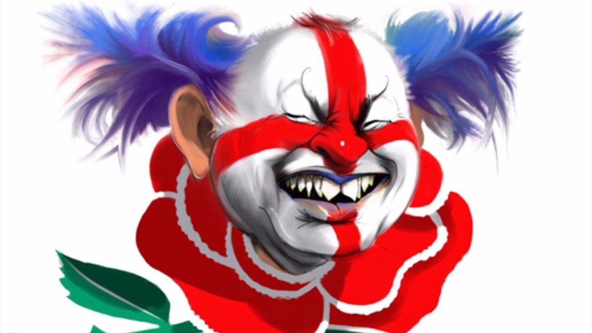 Eddie Jones has been depicted as a 'menacing clown' Down Under.