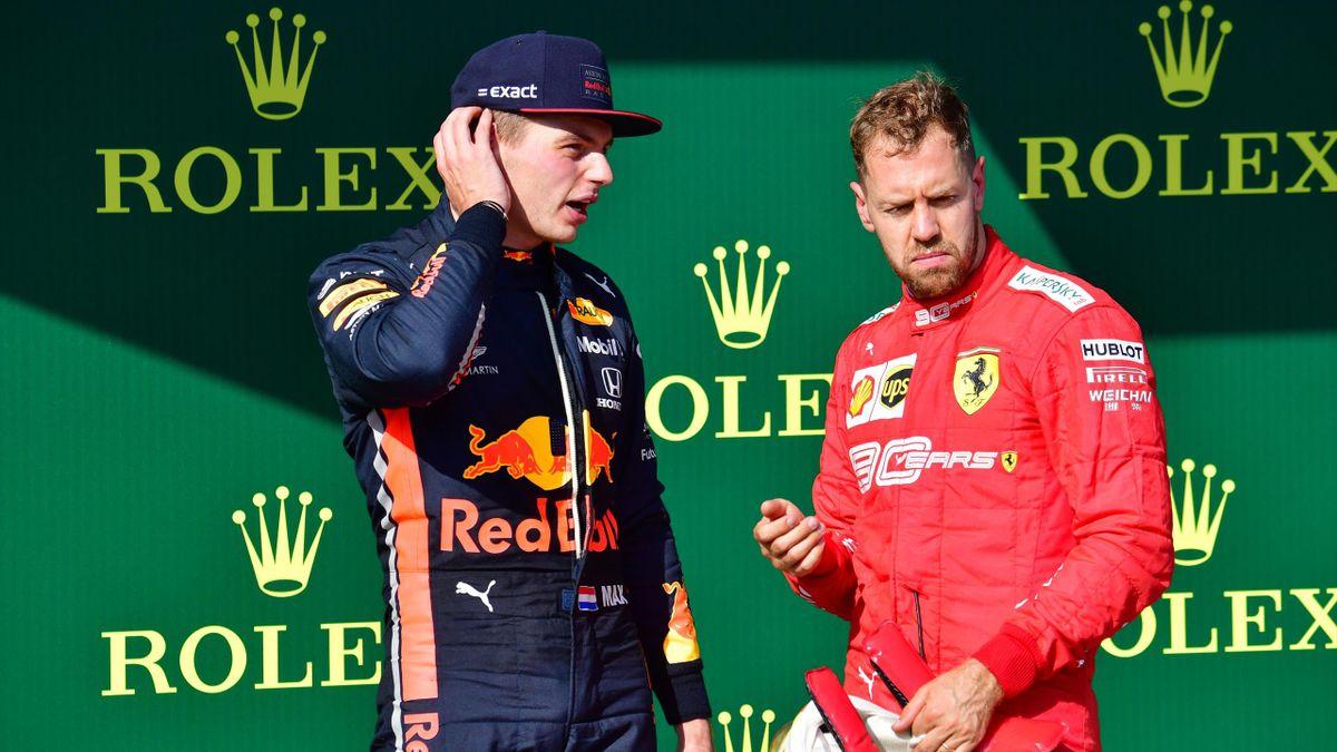 Max Verstappen (links, Red Bull) - Sebastian Vettel (rechts, Ferrari)