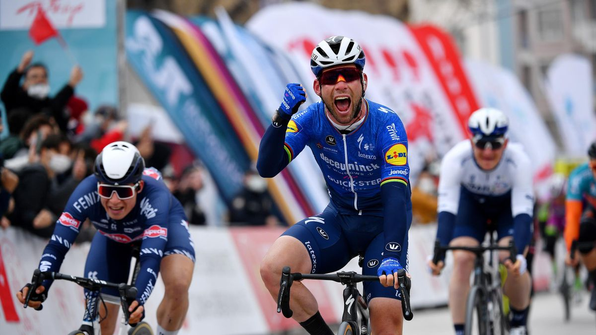 Mark Cavendish of United Kingdom and Team Deceuninck - Quick-Step Celebration, Jasper Philipsen of Belgium and Team Alpecin-Fenix & AndrŽe Greipel of Germany and Team Israel Start-Up Nation during the 56th Presidential Cycling Tour Of Turkey 2021