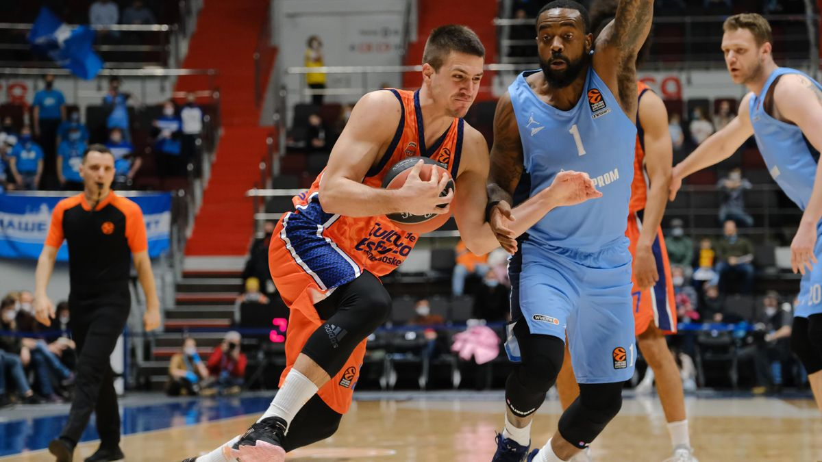 Vanja Marinkovic, #2 of Valencia Basket in action during the 2020/2021 Turkish Airlines EuroLeague Regular Season Round 26 match between Zenit St Petersburg and Valencia Basket at Sibur Arena on February 25, 2021 in Saint Petersburg, Russia
