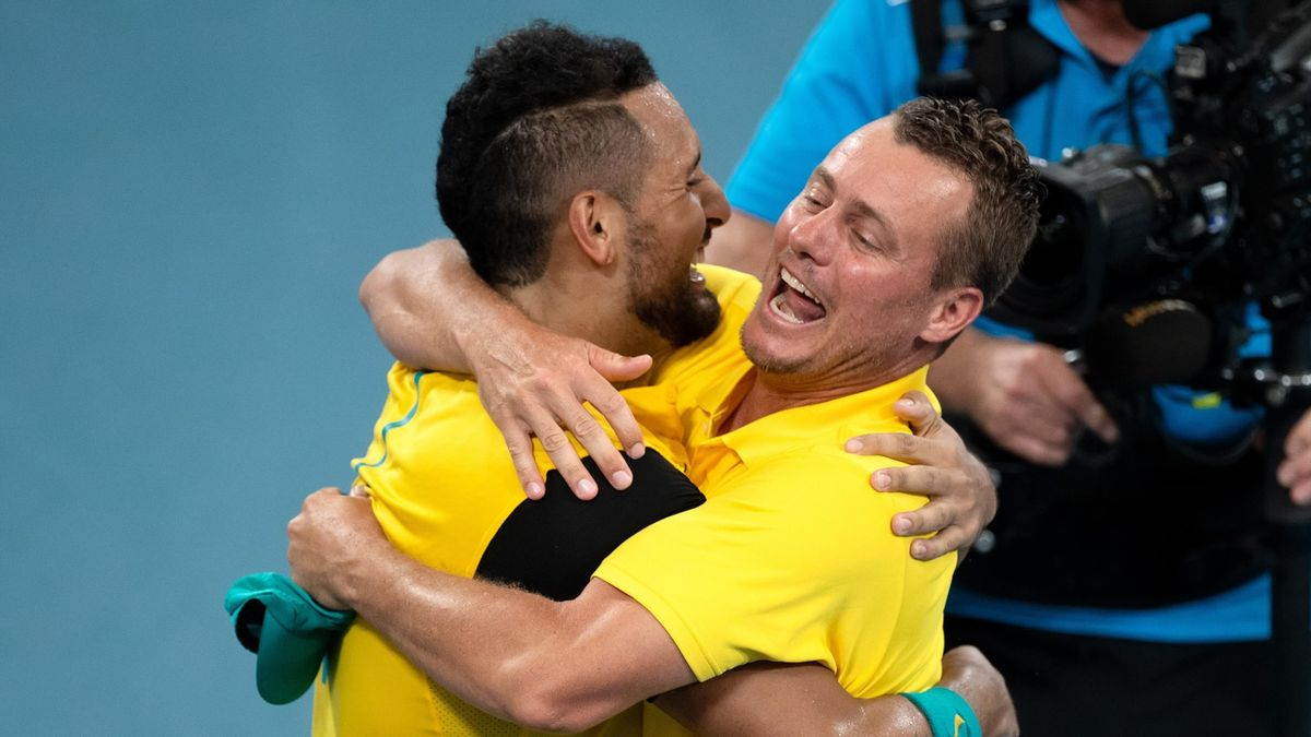Lleyton Hewitt and Nick Kyrgios of Australia celebrate the win over Team Great Britain during day seven of the quarter-final doubles match at the 2020 ATP Cup Tennis at Ken Rosewall Arena