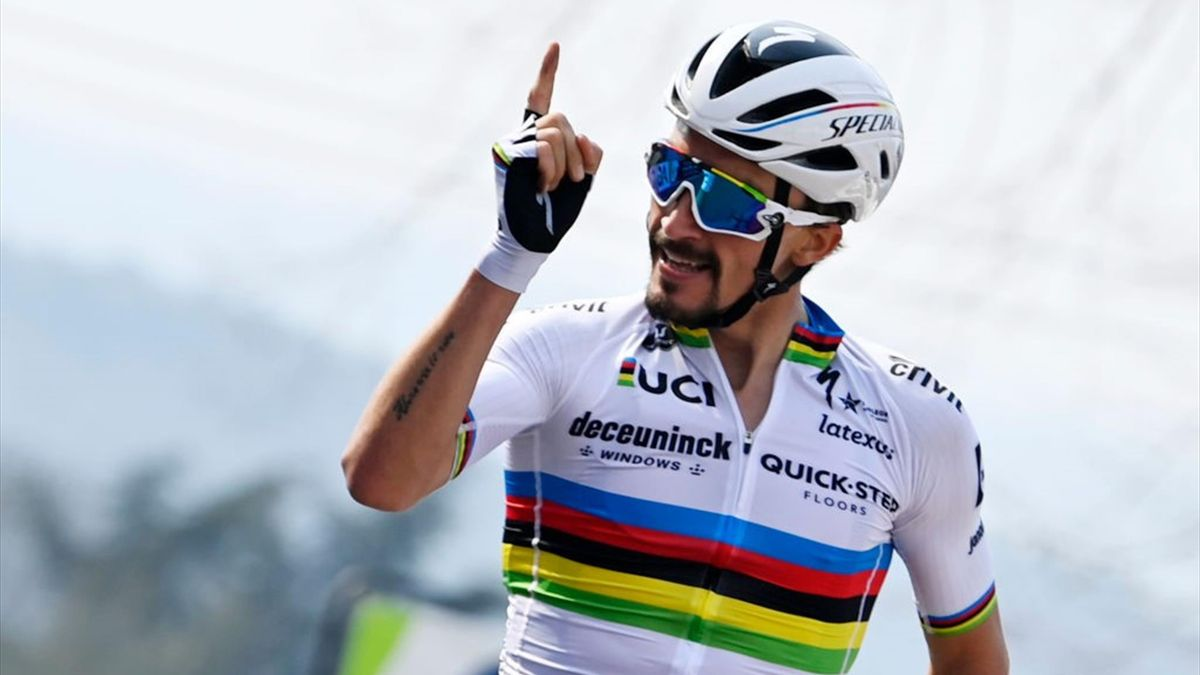 Julian Alaphilippe vince sul traguardo di Mur de Huy - Freccia Vallone 2021 - Getty Images