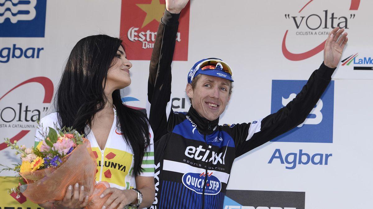 Etixx Quick Step Irish rider Daniel Martin celebrates on the podium