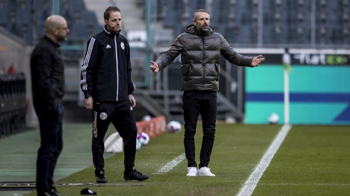Marco Rose (rechts; Borussia Mönchengladbach) im Spiel gegen Bayer Leverkusen