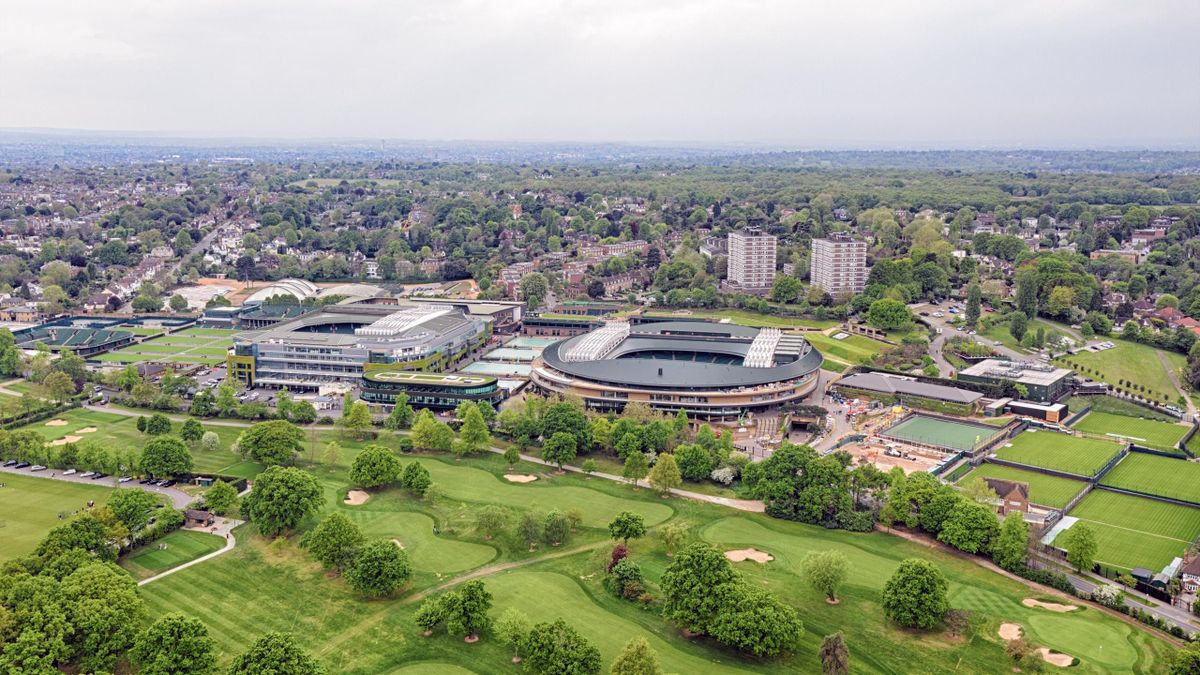The golf course in the foreground has been acquired by Wimbledon for future development.