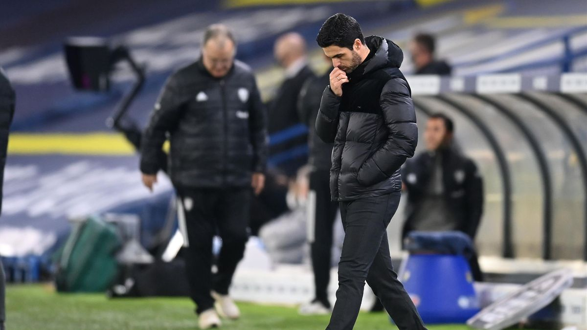 Arsenal's Spanish manager Mikel Arteta reacts during the English Premier League football match between Leeds United and Arsenal at Elland Road in Leeds, northern England on November 22, 2020.