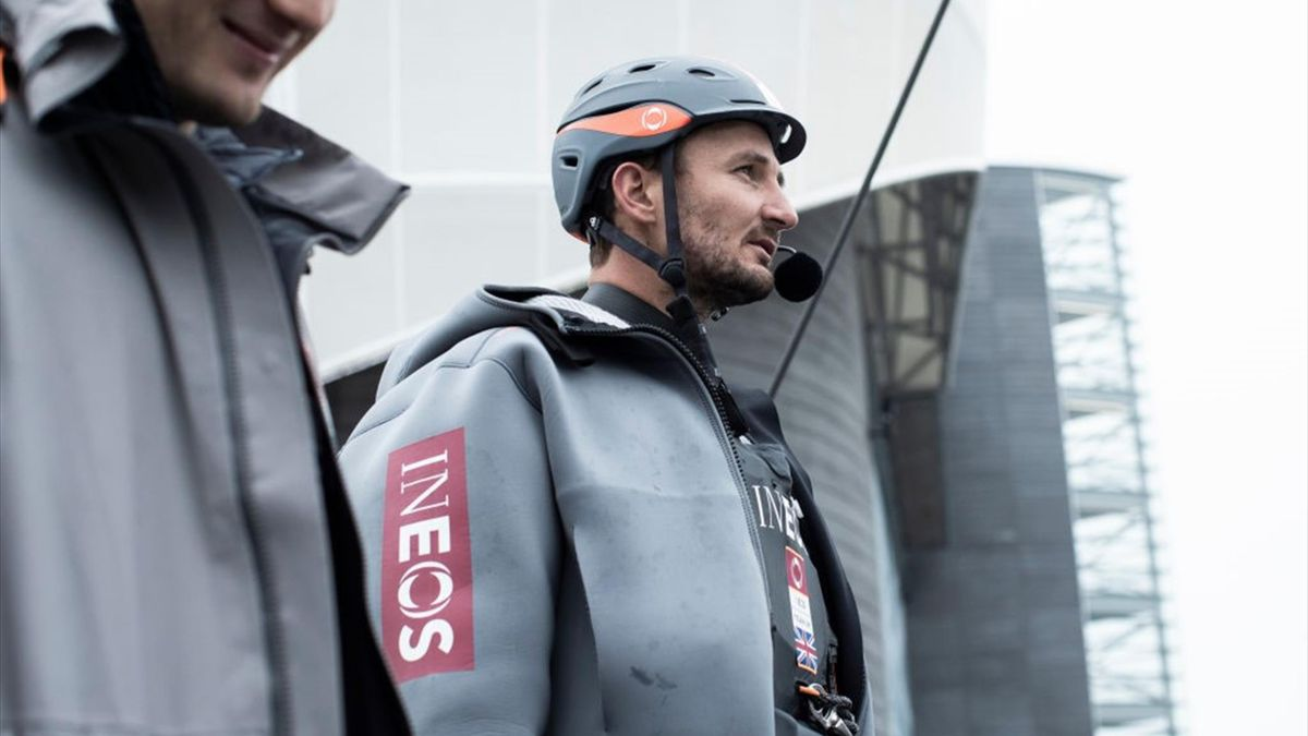 Tactician Giles Scott onboard INEOS TEAM UK, the British challenger for the 36th Americas Cup in 2021 skippered by Sir Ben Ainslie, during training near their HQ on their race yacht, Britannia, on November 7, 2019 in Portsmouth, United Kingdom